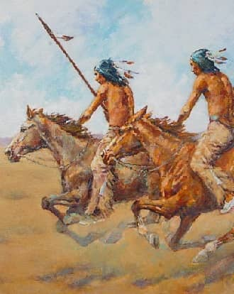 Two Indians hunting on the Great Plains