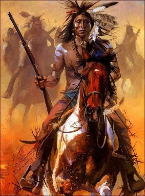 American Indian riding horse